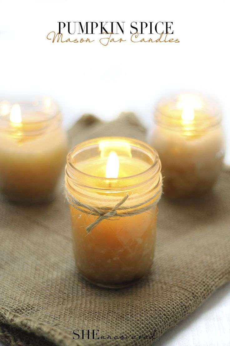 Mason-Jar-Pumpkin-Spice-Candles                                       ---> Great DIY Holiday Gift