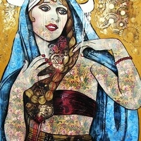 Sarah Hickey - Gallery - Horned Lace Idols - Veiled vintage Mary with Ruby Bracelet