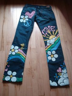 Hand Painted Snoopy Hippy Jeans by scatterbirdie on Etsy, $250.00