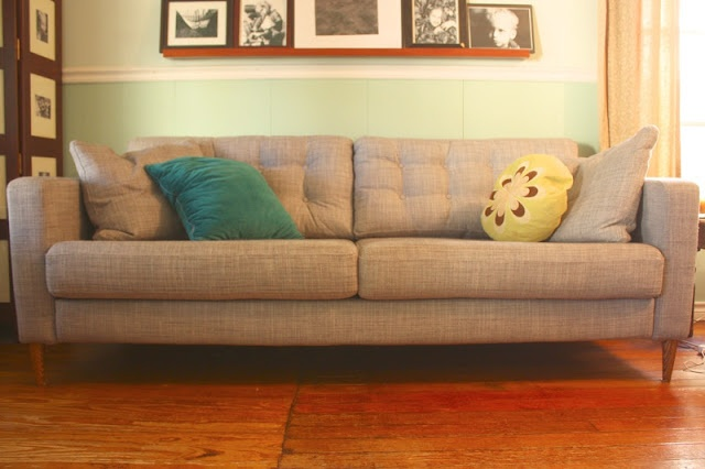 Ikea Karlstad hack - create a tufted sofa    Love! Such a great mid-century modern look!