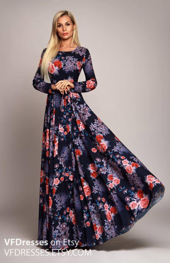 Dark blue Floral maxi dress 315f22319ca9d