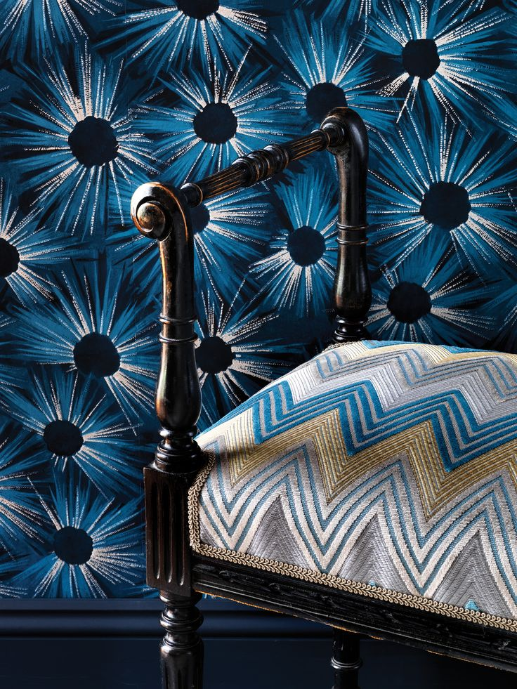 NEW ESTELLA wallpaper and BARGELLO VELVET by Nina Campbell at Osborne & Little
