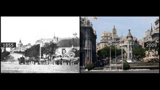 En 1855, la fuente de Cibeles, fotografíada por Charles Clifford, aún aparecía en su primitivo emplazamiento, a la entrada del paseo de Recoletos. Los aguadores cargan sus carros con el agua que luego distribuirían por toda la ciudad. Todavía no está ni el Banco de España ni el cuartel general del Ejército