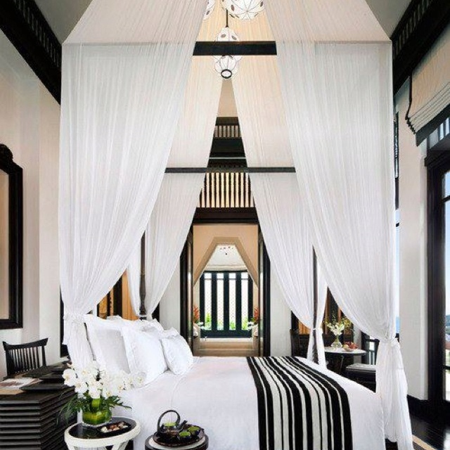 Bed and Breakfast Styled Bedroom in simple black and white