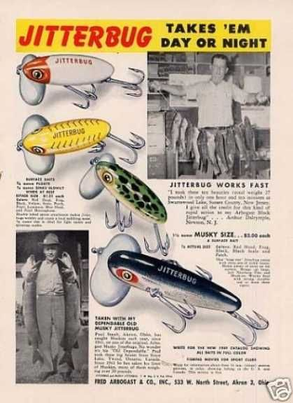 Fred Arbogast Jitterbug Fishing Lures (1949) My Dad's Favorite Lure for Bass...