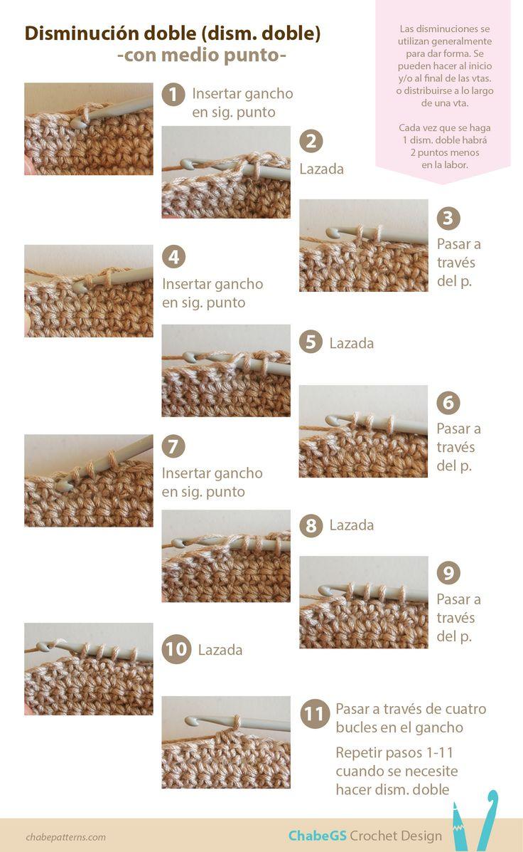 Fototutorial sobre cómo hacer disminución doble con medio punto (punto bajo) en crochet, instrucciones paso a paso