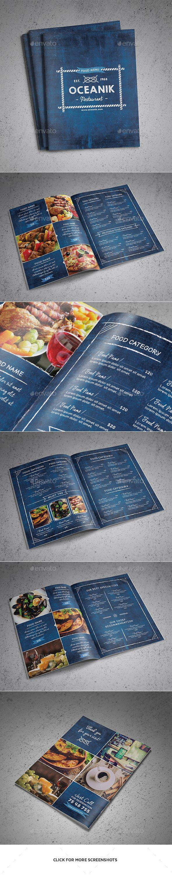 Oceanik Restaurant Menu 8 Pages Template #design Download: http://graphicriver.net/item/oceanik-restaurant-menu-8-pages/13285010?ref=ksioks
