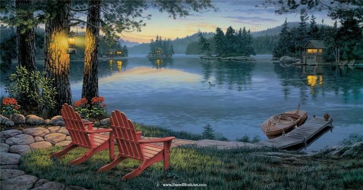 Adirondack Evening By Darrell Bush Cabin Lake Twilight