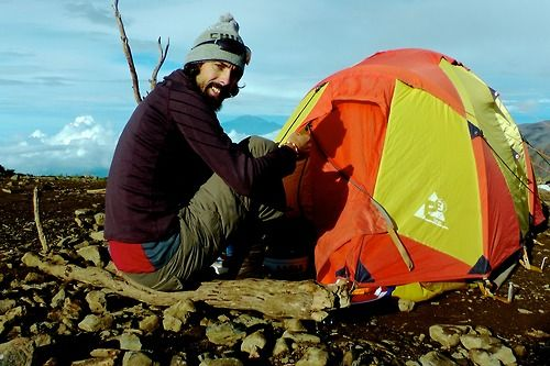 Hap sets up his tent on Mt Kilimanjaro.  Hear his story of travel, love and what it took to be with the woman he loves, at www.lovinginlimbo.com