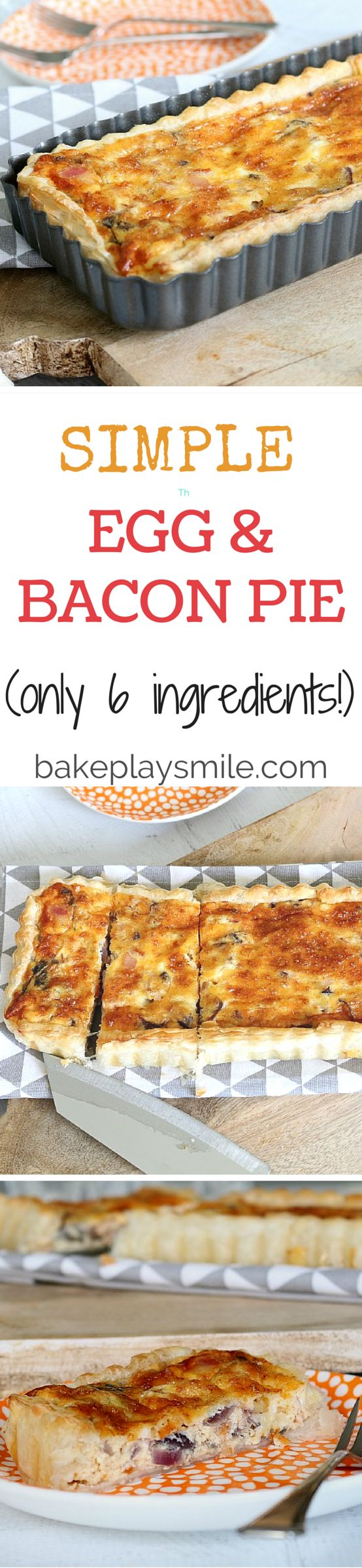 This is by far the easiest and yummiest egg and bacon pie you'll ever make. Pre-made puff pastry gives you a perfectly crispy crust and it means that you can have this on the table in 30 minutes!! | Bake Play Smile #egg #bacon #pie #tart #easy #quick #recipe