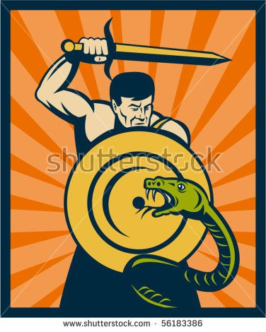 vector illustration of a Warrior with sword and shield striking a snake or serpent with sunburst in background #warrior #retro #illustration