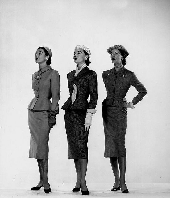 """Models wearing spring suits by Hattie Carnegie, 1951. Photographed for Life Magazine."" #1950s #vintage #fashion     Photographed for LIFE Magazine."