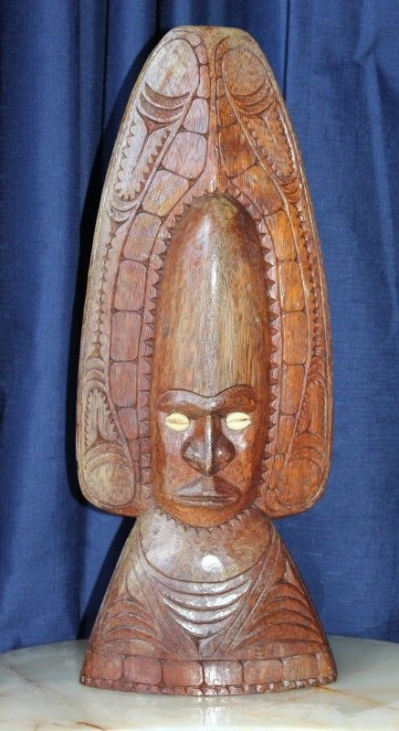 Very Large Hand Carved Island Totem Or Idol With Inlaid Cowrie Shells  #IDOLOREFFIGY