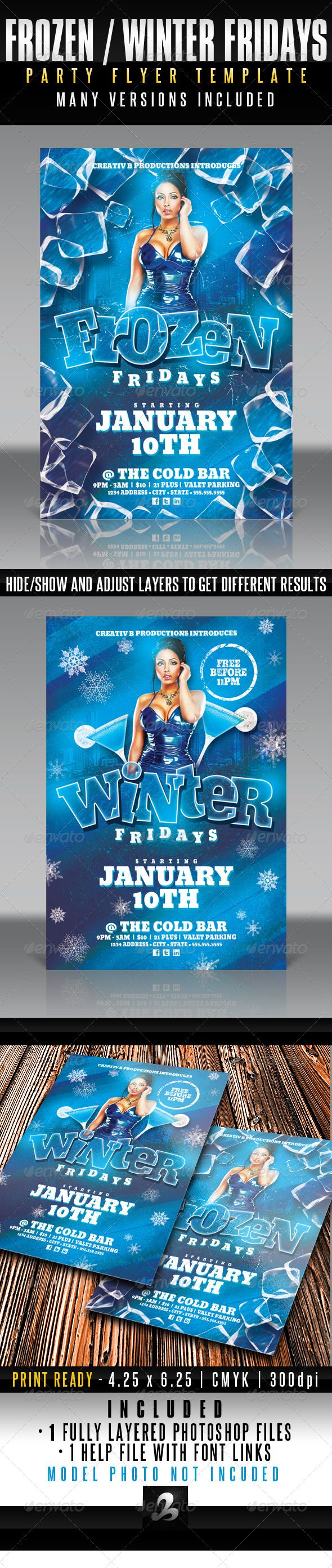 Frozen  Winter Fridays Party Flyer Template  Party Flyer Flyer