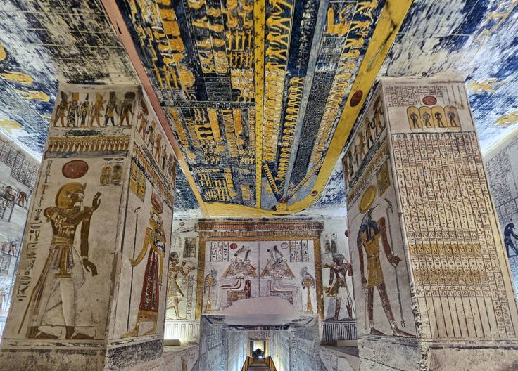 """Ramesses the Sixth Tomb """"Book of Caverns"""" Luxor & Karnak by Mohamed Attef https://www.360cities.net/image/ramesses-the-sixth-antechamber-book-of-the-dead-egypt"""