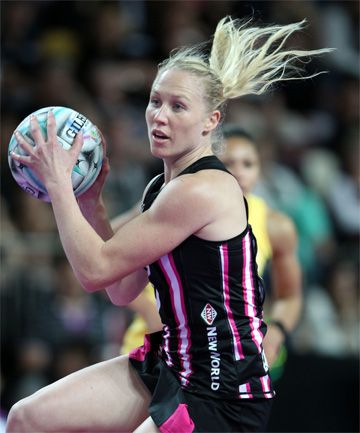 Laura Langman in action over the weekend at the Fast5 tournament. Love the pink addition to the Fast5 Ferns uniform! @My Netball