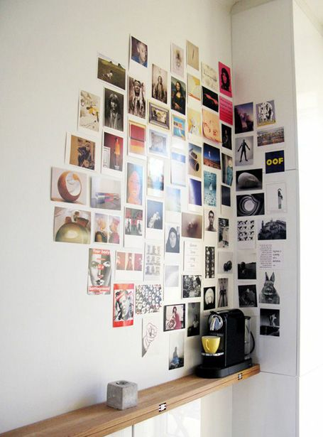 Lovely idea for a corner space. Home office, Collage, Wall Art.