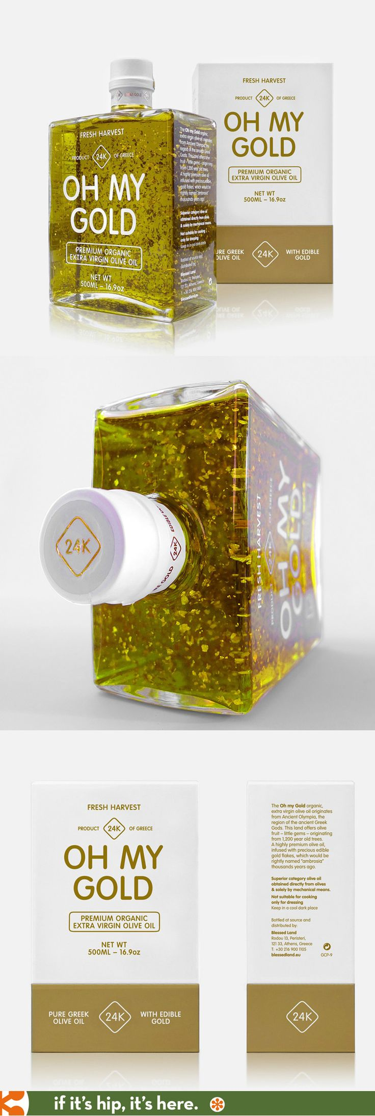 Fresh Harvest Oh My Gold Premium Extra Virgin Olive Oil with edible 24k gold flakes. Package design by G Studio.