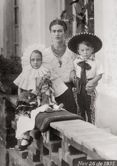 with unk. children in tehuana dress. 1935, oaxaca