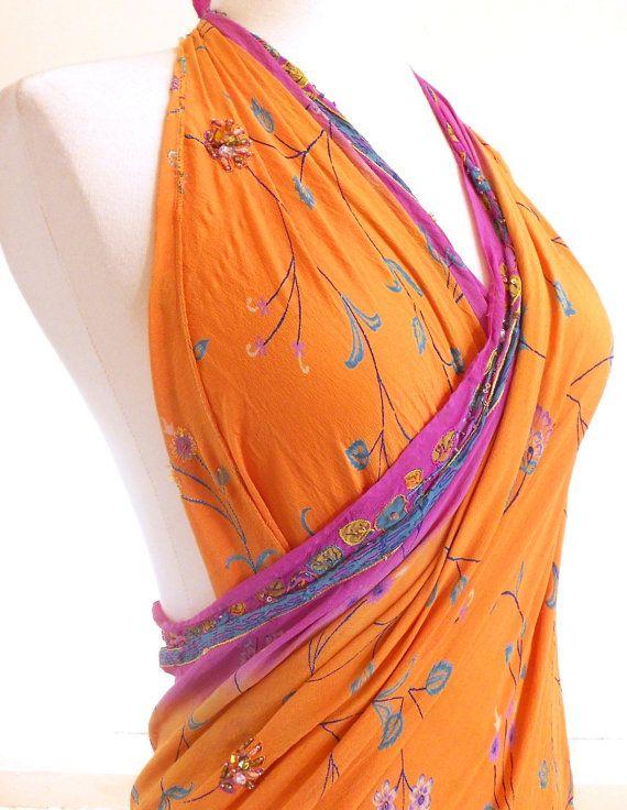 Large Silk Scarf, Orange Cover Up, Orange Scarf, Silk Sari Scarf, Gypsy Scarf, Silk Chiffon Sarong, Indian Sari