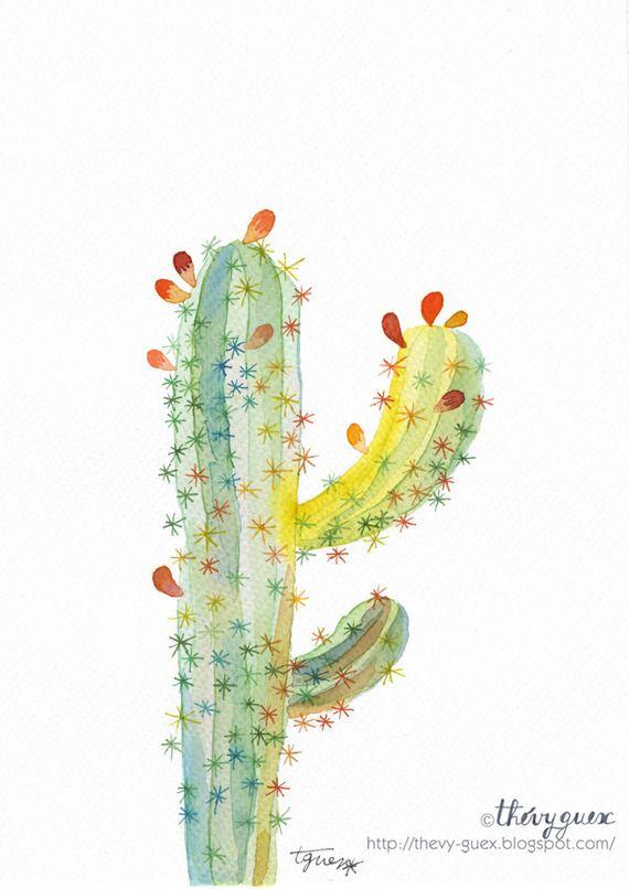 Aquarelle Originale Cactus Multicolore Jaune Pastel Contemporain