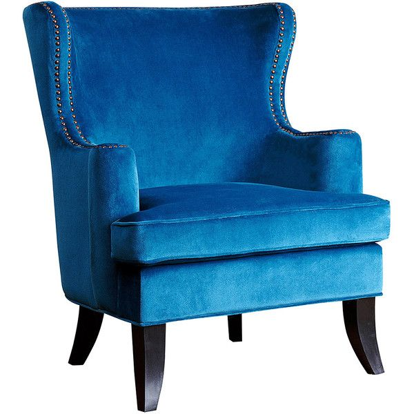 Abbyson Living Blue Nailhead Trim Arm Chair ($430) ❤ liked on Polyvore featuring home, furniture, chairs, accent chairs, nailhead accent chair, nailhead trim accent chair, nailhead trim chair, nailhead armchair and nailhead arm chair