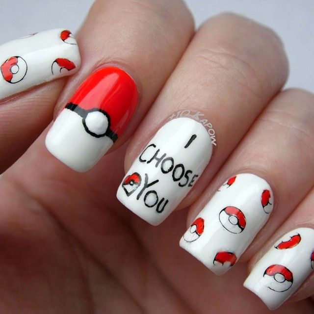 My 2nd nerdy Valentines nail art and also my 2nd entry to - 13 Best Pokemon Nail Art Images On Pinterest Nailart, Gel Nail
