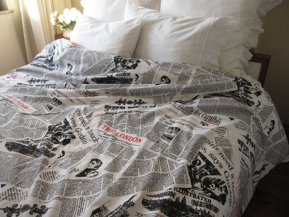 Writing Newspaper Print Duvet Cover Book Bedding Black