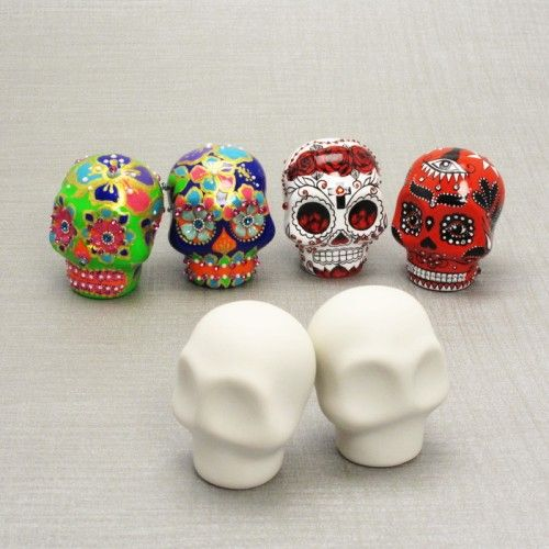 DIY Crafts | Pairs Unpainted Skull Day of Dead Cake Topper DIY Crafts Ceramic