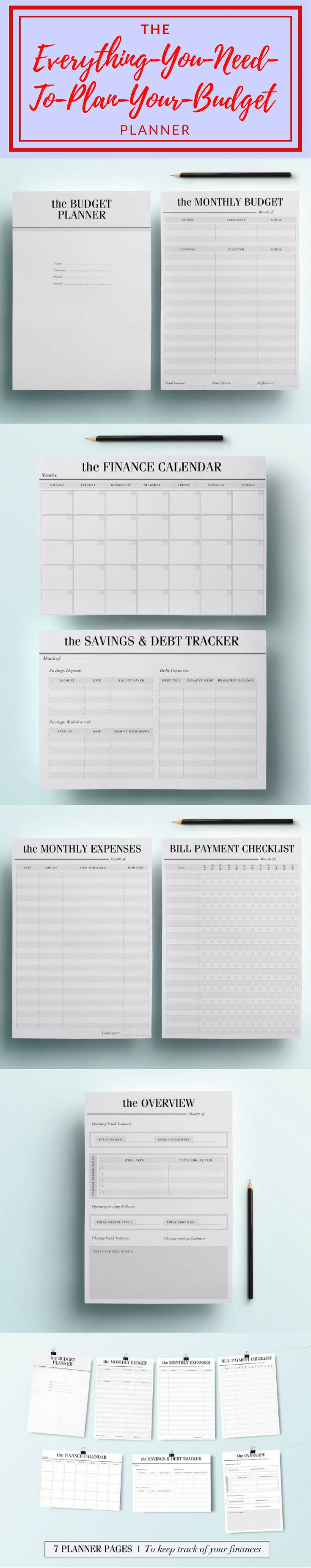 I love this! A4 Budget Planner Kit - Printable Financial Planning Set, 7 Modern Organizer Pages including Savings Tracker, Expenses etc, INSTANT DOWNLOAD #budgeting #affiliate