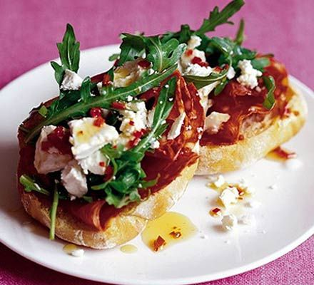 BBC Good Food's spicy sausage goat's cheese toasts, yummy with Heck ...
