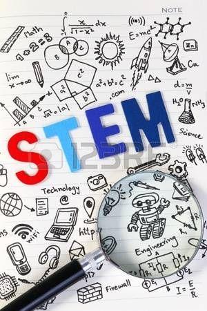 Educación STEM. Ciencia Tecnología Matemáticas Ingeniería. STEM concepto con el fondo de dibujo. Lupa sobre el fondo de la educación. photo