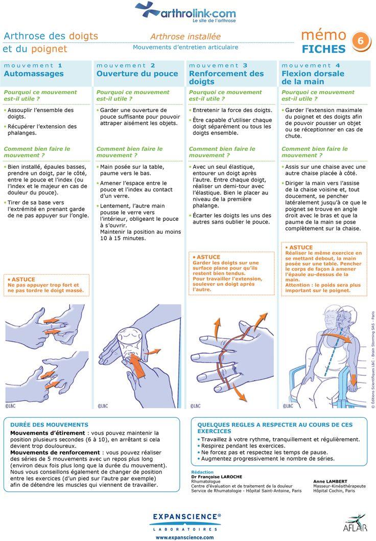 Consultez notre fiche d'exercices pour soulager votre arthrose installée des doigts et du poignet avec des mouvements d'entretien articulaire