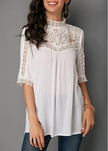 Lace Panel Mock Neck White Blouse On Sale Only Us 31 86 Now Buy