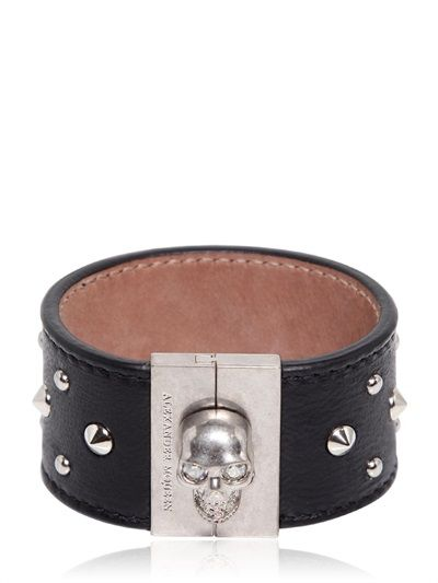 ALEXANDER MCQUEEN - LEATHER BRACELET WITH SKULL & STUDS - LUISAVIAROMA - LUXURY SHOPPING WORLDWIDE SHIPPING - FLORENCE