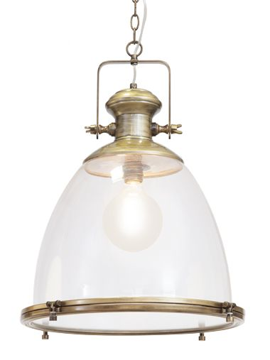 Nautical clear brass pendant