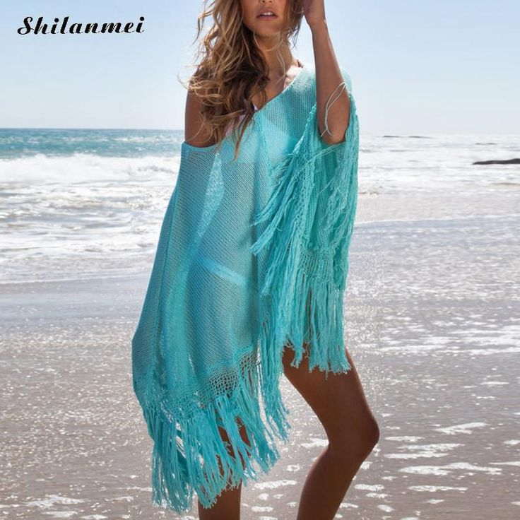 >> Click to Buy << Beach Tassel Dress Tunic Pareos for Women Summer Beach Saida De Praia Plaj Elbiseleri Strand Vertuschung Robes free size blue #Affiliate