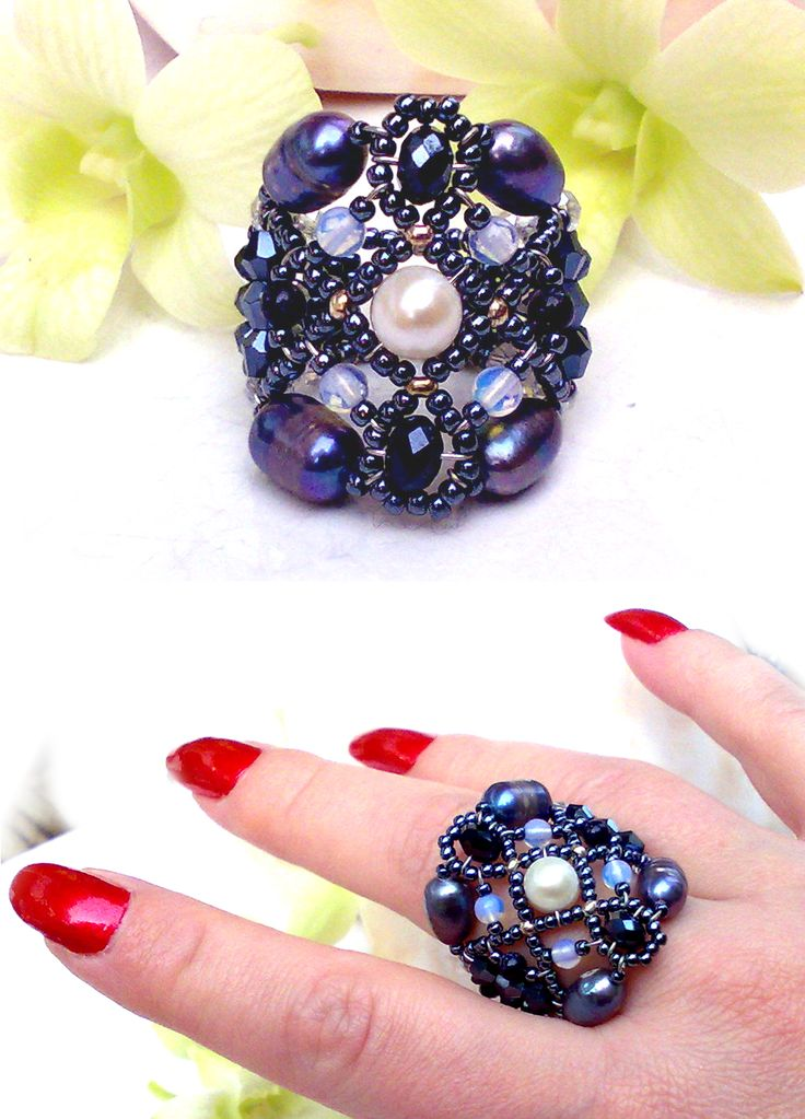 """Sheherezade Rococo"" Black Pearl ring with Freshwater Pearl, Swarovski Crystals, Sterling Silver Tag.  www.musesa.com"