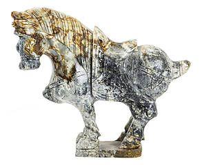 Scultura decorativa in giada Cavallo grigio - 22x26x7 cm