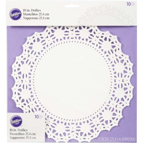 "10"" Round Grease-Proof White Doilies"