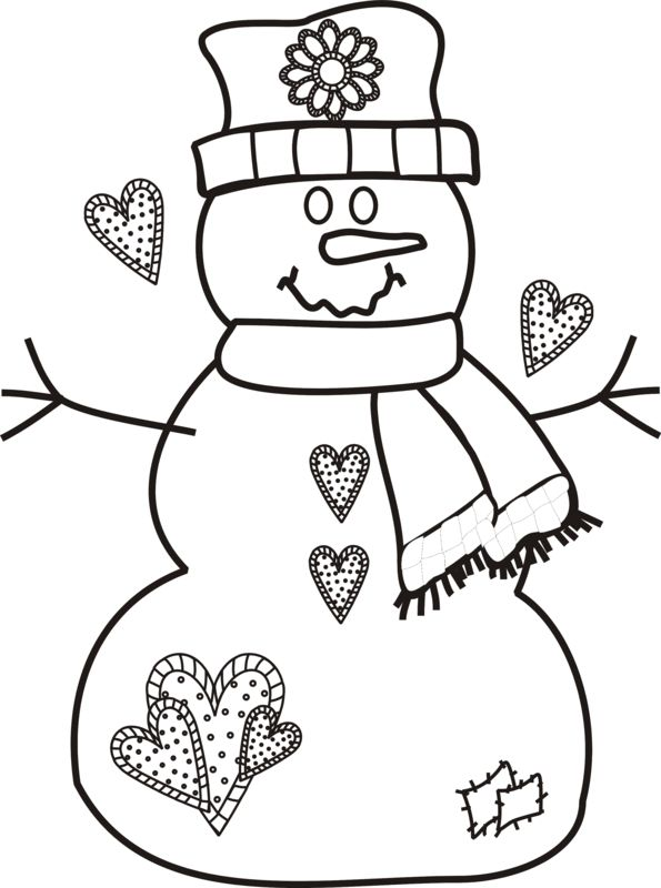Snowman With Hearts Scarf And Patches Applique Embroidery
