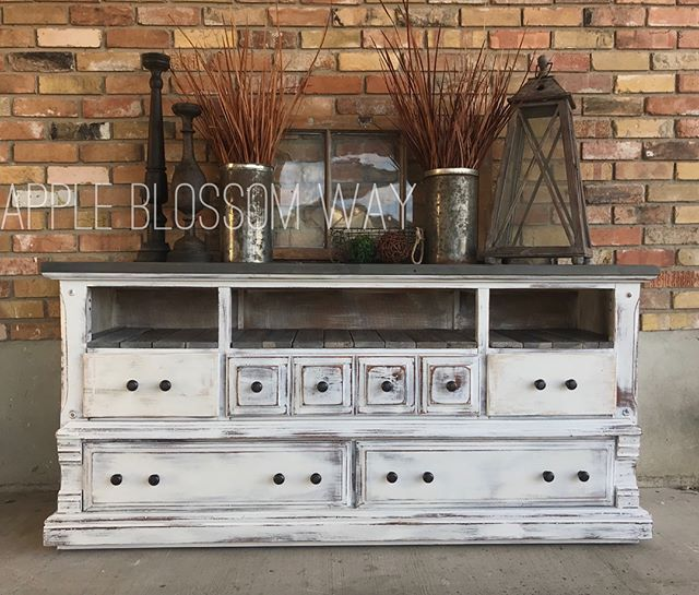 {For Sale} $425. Custom one-of-a-kind entertainment center. Reclaimed wood plank shelf with a solid wood grey top and beachy white bod. This is the perfect mix of grey tones. Refinished in @anniesloanhome pure white on the body and a combination of @sweetpickins zinc milk paint & Rustoleum gray for the top and planks. This is a solid sturdy piece with 6 drawers on bottom. Located in Salem. Measurements: 18x68x32 - Architecture and Home Decor - Bedroom - Bathroom - Kitchen And Living Room…