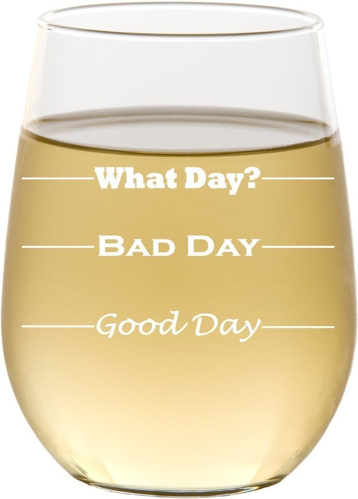 Good Day, Bad Day - Funny 17 oz Stemless Wine Glass, Permanently Etched, Gift for Mom, Co-Worker, Friend, Boss, Christmas - SG10. Item Details... ~ MADE IN AMERICA, from high quality, durable glass ~ STEMLESS white wine glass holds 17 oz of wine ~ Engraving is on one side of the glass ~ Etching is permanent, flawless and requires no maintenance ~ DISHWASHER SAFE! Because who has time to do dishes? ~ It's the perfect, funny yet unique gift for Mom, Sisters, a boss, co-worker, friend…