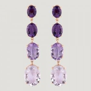 Four Amethyst Stones Long Drop Earrings - £498.00