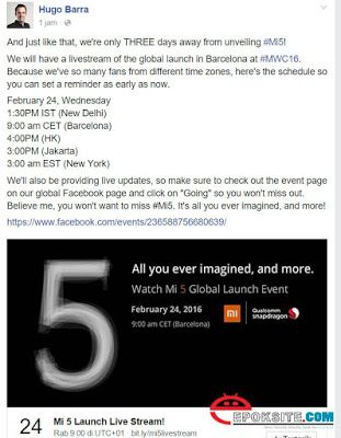 Hugo Barra Sudah Menyiapkan Live Streaming Perilisan Xiaomi MI5 Untuk Fans Xiaomi Yang Tidak Dapat Hadir Pada Acara MWC 2016 | Epoksite