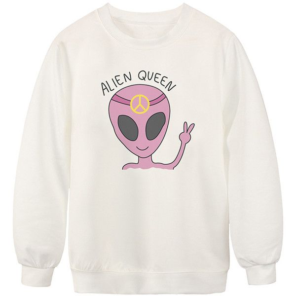 Chicnova Fashion Alien Queen Printed Casual Sweatshirt found on Polyvore featuring tops, hoodies, sweatshirts, sweaters, shirts, print tops, drop shoulder tops, pattern tops, crew neck sweatshirts and print sweatshirt