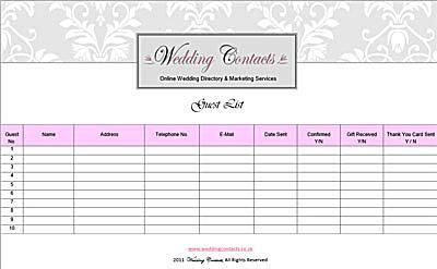 Use These Free Wedding Templates to Create Your Guest List: Wedding Guest List Template from Wedding Contacts