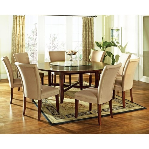 Avenue 9 Piece Contemporary Round Dining Table Parsons Chair Set By Steve Silver