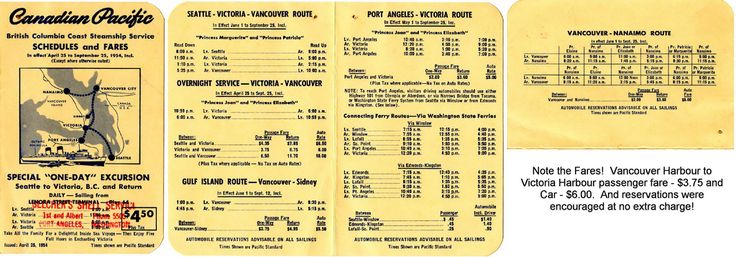 Prior to BC Ferries the Canadian Pacific Railway operated the British Columbia Coast Steamship Service to various Vancouver Island, Washington State and northern BC Ports.  This schedule shows the Vancouver Island routes.