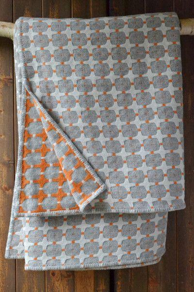 Orange grey and white wool blanket